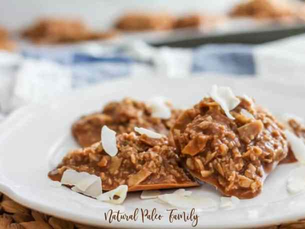 four chocolate sugar free no bake cookies on a white plate