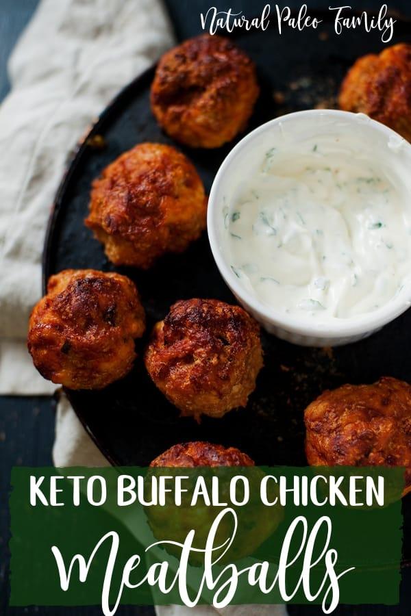 plate of keto buffalo chicken meatballs and sauce