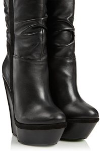 Black Winters Knight Wedge Boots By Cjg