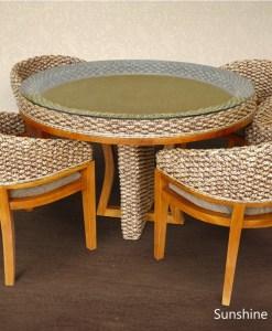 阳光柳条餐桌椅