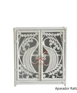 Aparador Peacock Rattan Cabinet in White