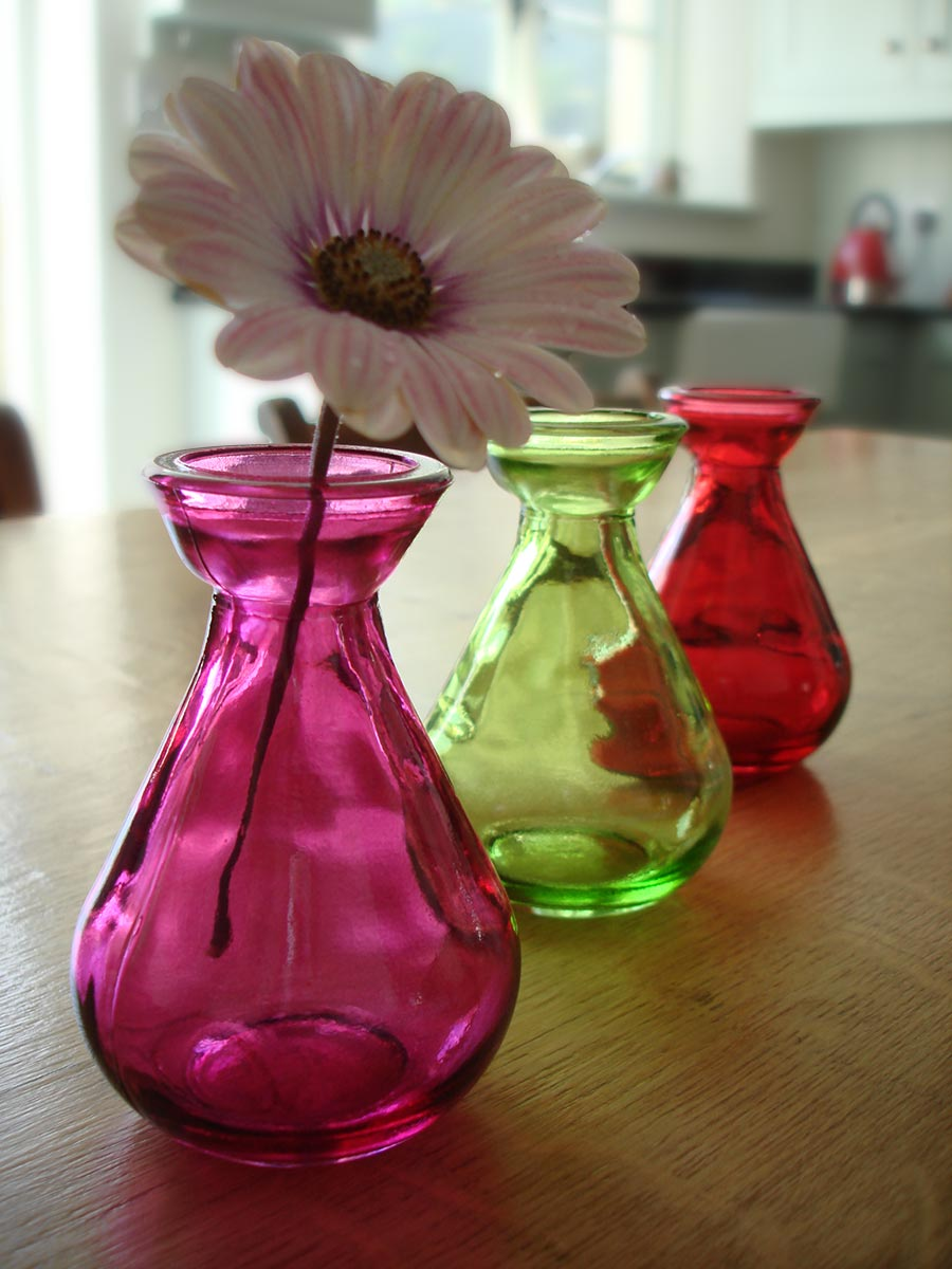 Coloured Recycled Glass Bud Vases Set Of 3 1 Natural