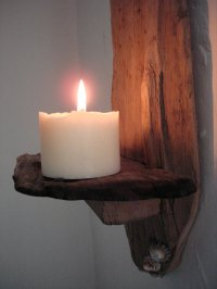 Driftwood and Shell Wall Candle Sconce - Natural Simplicity