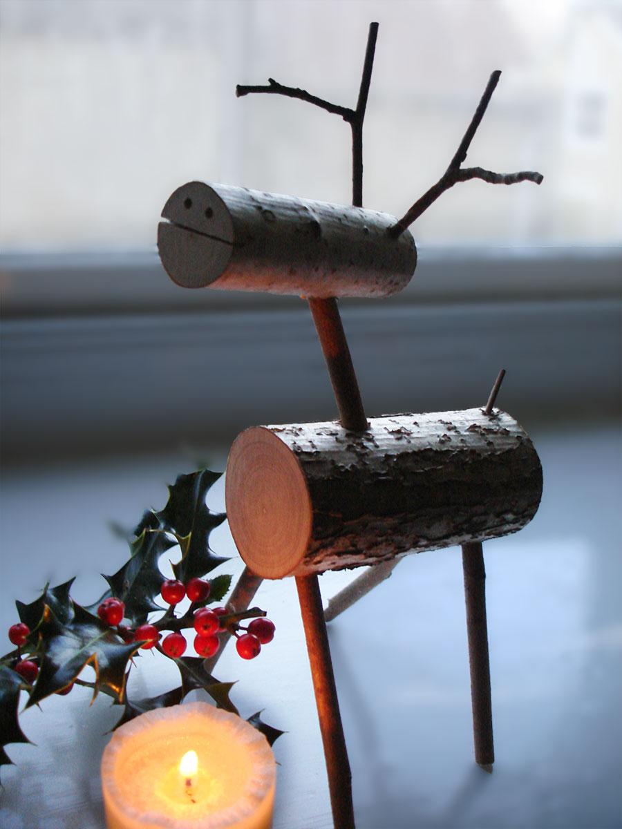 Wooden Christmas Reindeer  Christmas Decoration  Natural