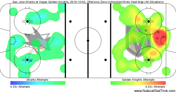 An ice hockey arena map is displayed with San Jose Sharks on one side and the Vegas Golden Knights on the other. It's a heat map that detects all the scoring chances each side could have had.