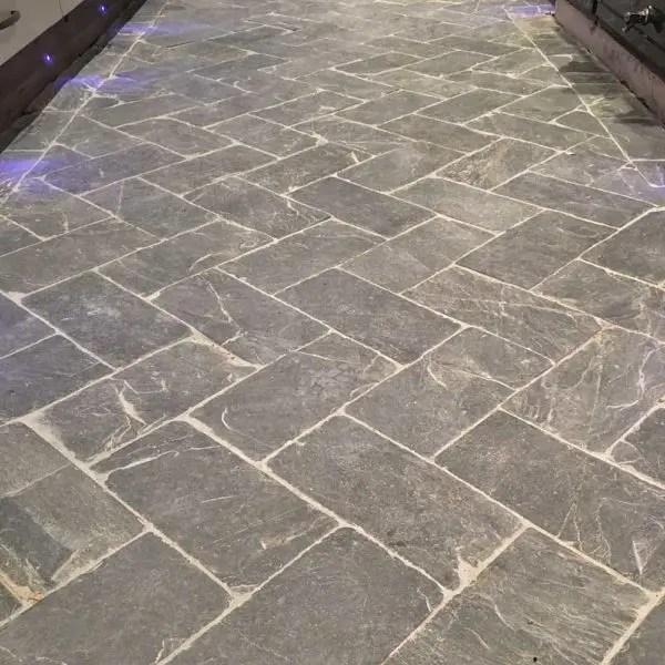 Slate herringbone grey tiles and flooring