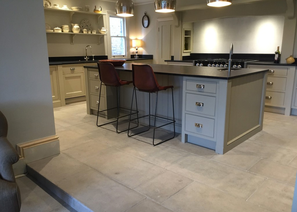 stone kitchen flooring shades case study complete with grey natural floor antiqued barr limestone has been used to create an aged looking throughout this new diner