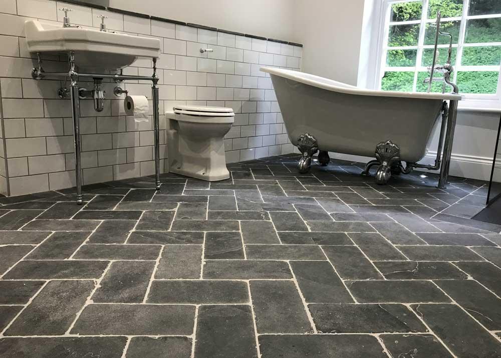 herringbone floor tiles provide a
