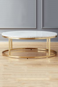 Small Round Marble Coffee Table Brass