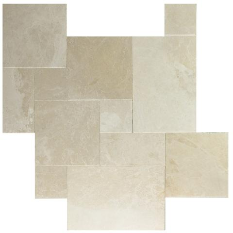 Botticino Beige Marble Brushed Chiseled French (Versailles) Pattern Tile