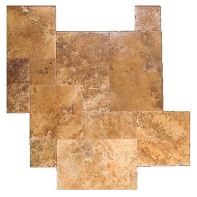 Gold Brushed Chiseled French (Versailles) Pattern Travertine Tile