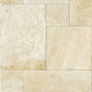 Ivory Travertine Tumbled French (Versailles) Pattern Paver
