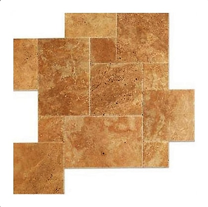 Noche Travertine Brushed Chiseled French (Versailles) Pattern Tile