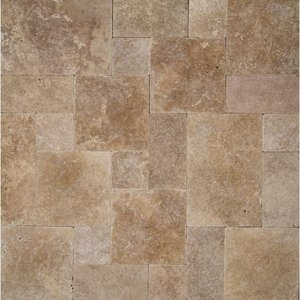 Noce Travertine Paver Tumbled French (Versailles) Pattern