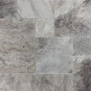 Silver Travertine Paver Tumbled French (Versailles) Pattern