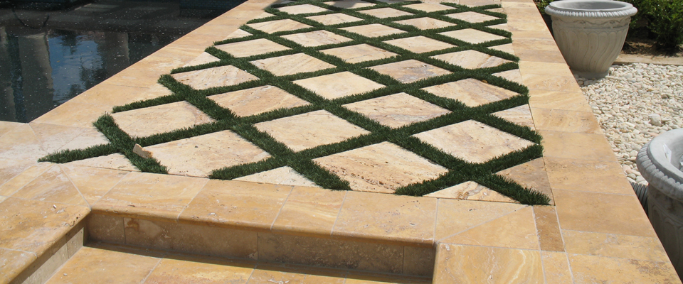 Gold Travertine Tumbled Pavers and Bullnose Pool Copings