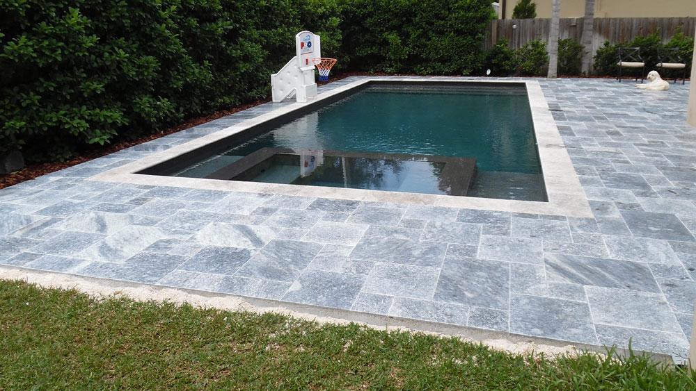 King BlueStone (Atlantic Blue) Marble Pavers French Pattern Pool Deck