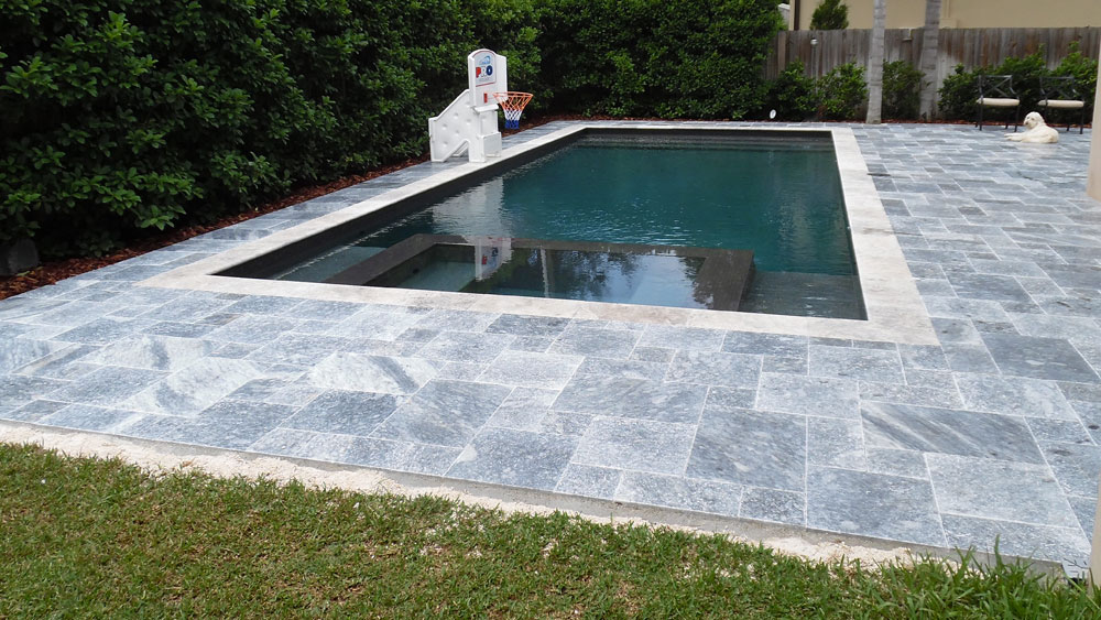 King BlueStone (Atlantic Blue) Marble Pavers French Pattern Pool Deck