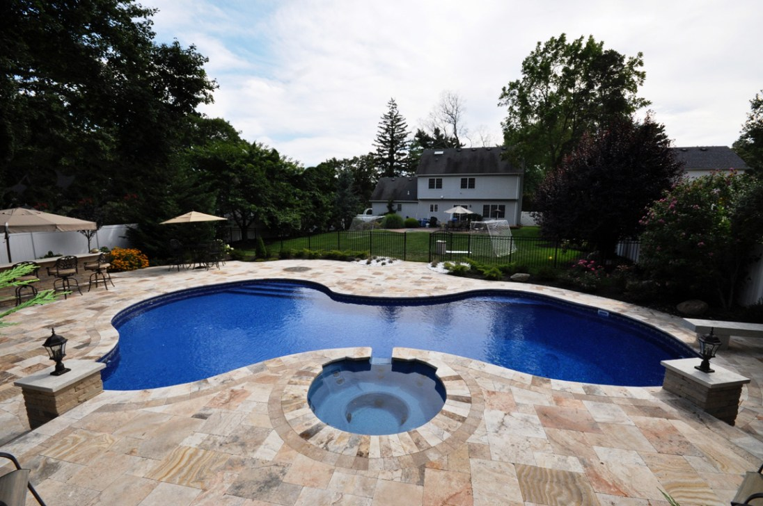 Scabos travertine pavers tumbled french pattern patio pool copings
