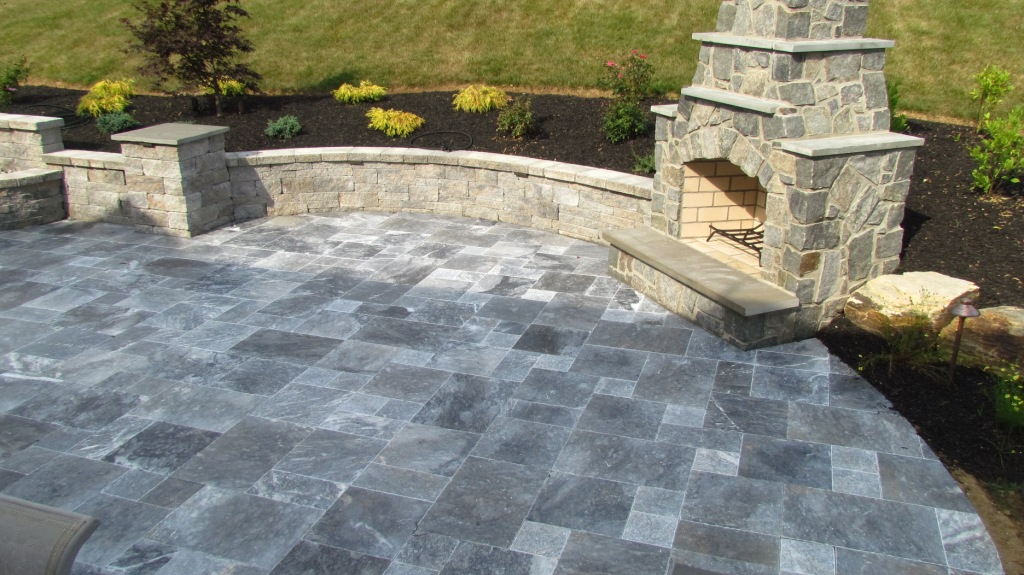 Atlantic Blue Marble Pavers French Pattern Cupertino