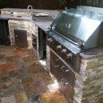 Golden white stacked stone outdoor kitchen ledger veneer dublin california