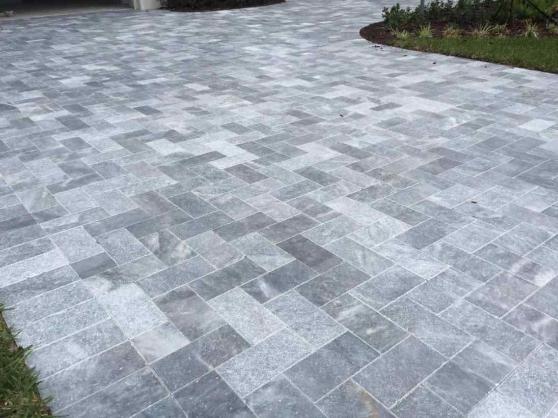 King Blue Stone marble pavers french pattern patio Portola Valley