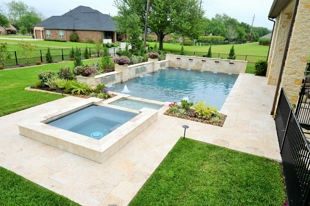 Tuscany beige travertine pool pavers and decking Los Gatos