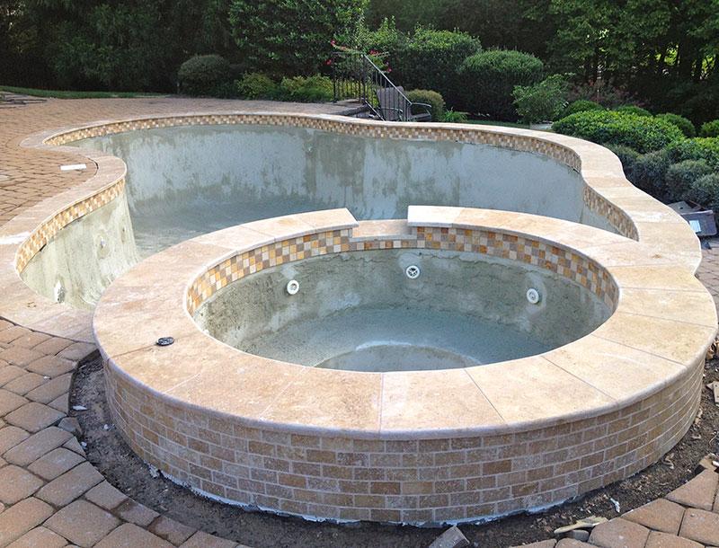 Tuscany walnut travertine pool coping stone pavers