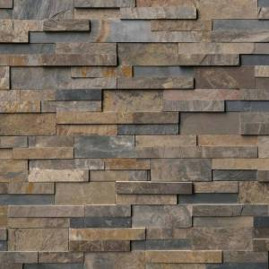 Rustic Gold Stacked Stone Panels
