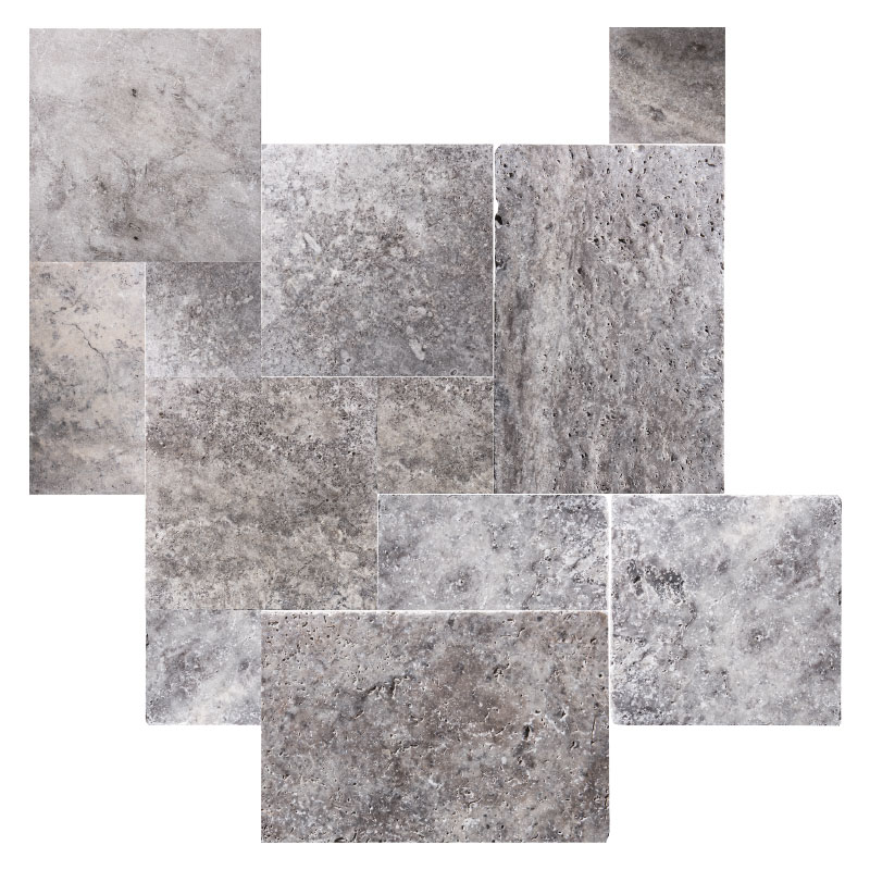 Silver Travertine Tile Tumbled French Pattern