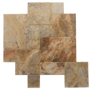 Tuscany Scabos Brushed Chiseled French Pattern Travertine Tile TTSCAB-PAT-HUFC