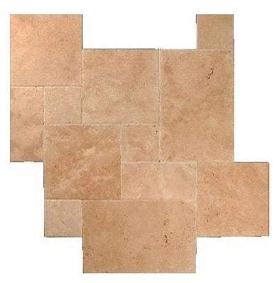 Tuscany Walnut Travertine Brushed Chiseled French Pattern Tile TTWAL-PAT-HUFC