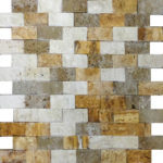 "1""x2"" Mixed Split Face Travertine Mosaic"