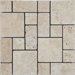 Ivory Travertine Tumbled Mini Pattern Mosaic