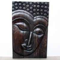 Buddha Wall Panel Serene - Natural Wood Decor