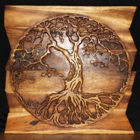 Tree of Life Round on Uneven Boards - Natural Wood Decor