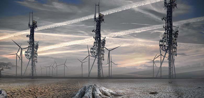 Montage d'un monde détruit à cause de la 5G et des ondes