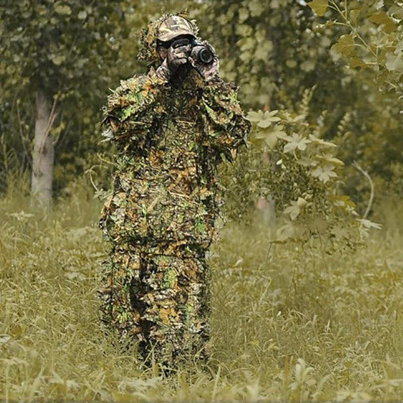 Hunting clothes New 3D maple leaf Bionic Ghillie Suits Yowie sniper birdwatch airsoft Camouflage Clothing jacket and pants - nature&survival -  -