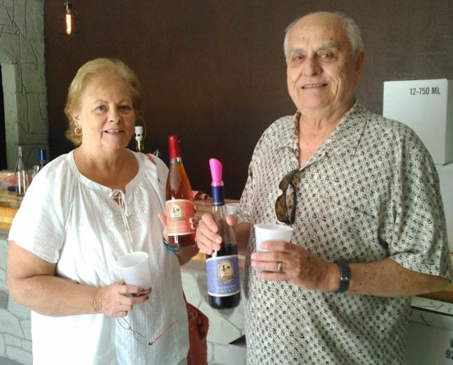 Dan and Susan Ebbecke with their Masaryk fruit wine
