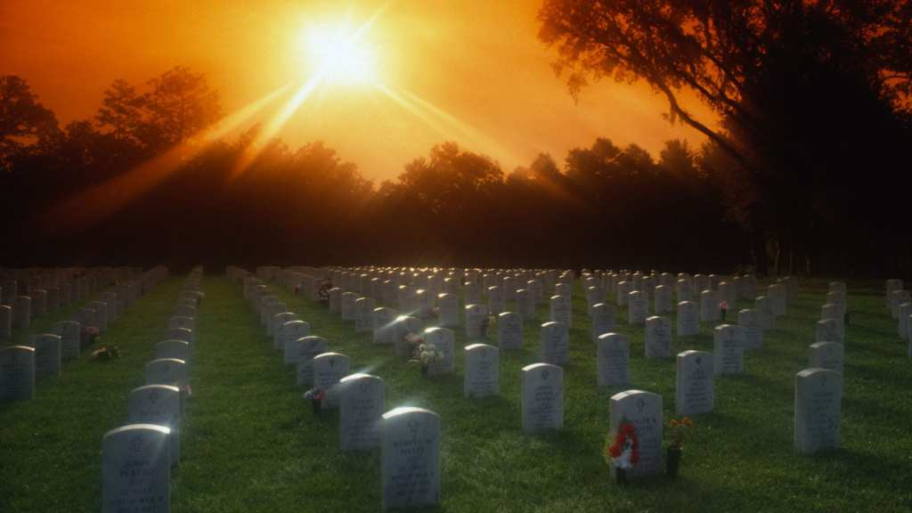 Florida National Cemetery at sunset.