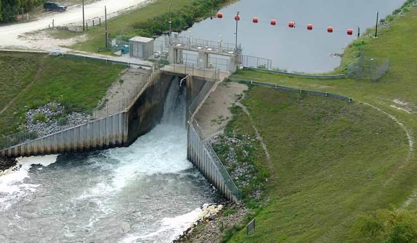 Inglis bypass spillway dam