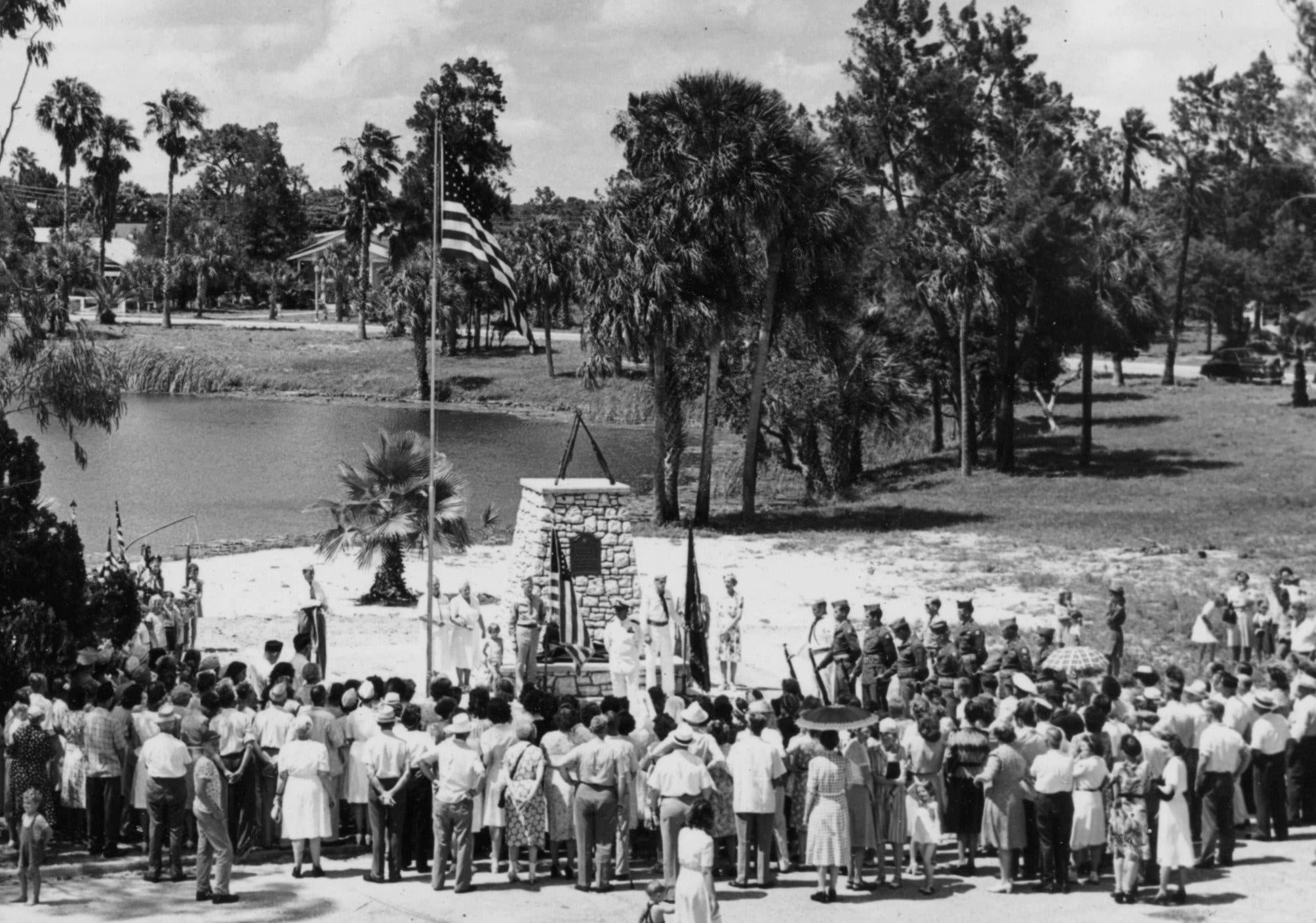 rededication of veterans memorial at orange lake