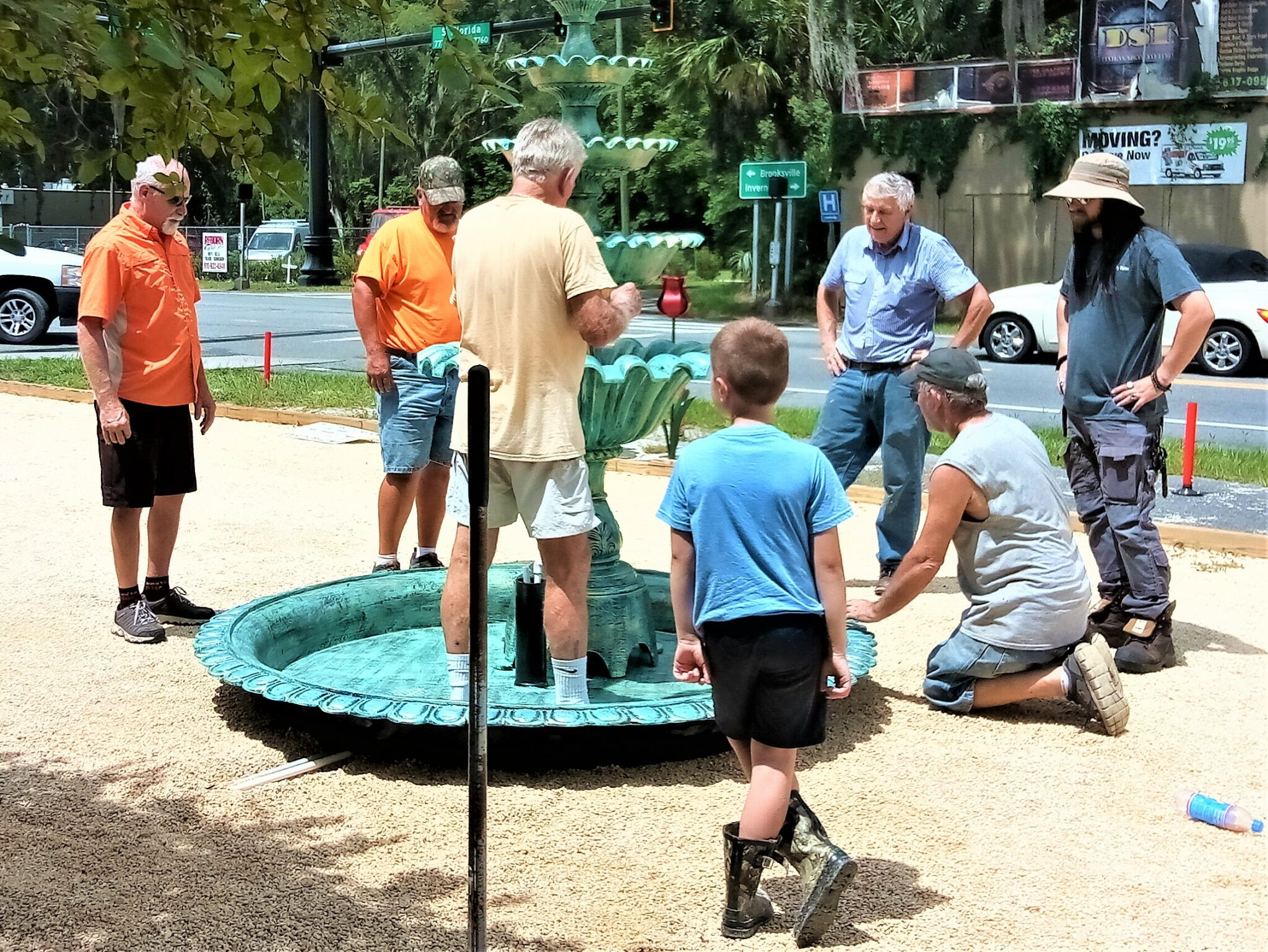 floral city fountain installation