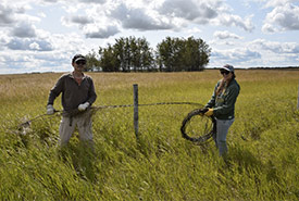 Conservation Volunteers removing fencing in Ferrier, AB (Photo by NCC)