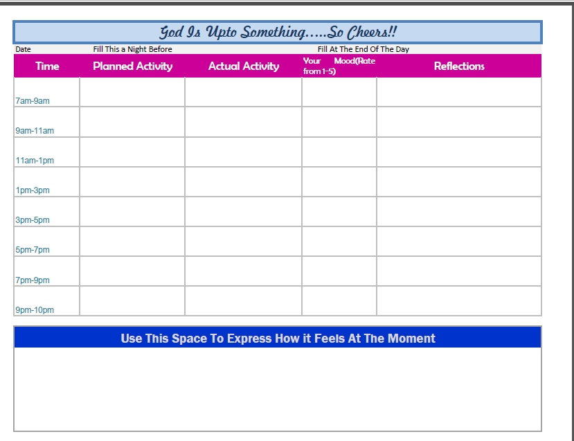 Depression Recovery Daily activity Planner