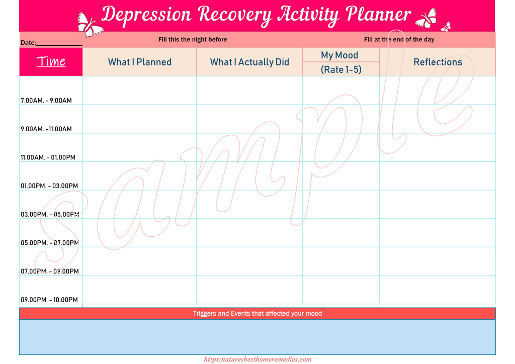 depression recovery activity planner