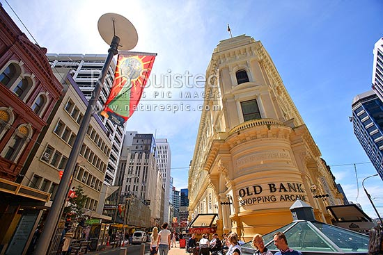 The Old Bank Arcade historic old Bank of New Zealand BNZ building now an upmarket shopping