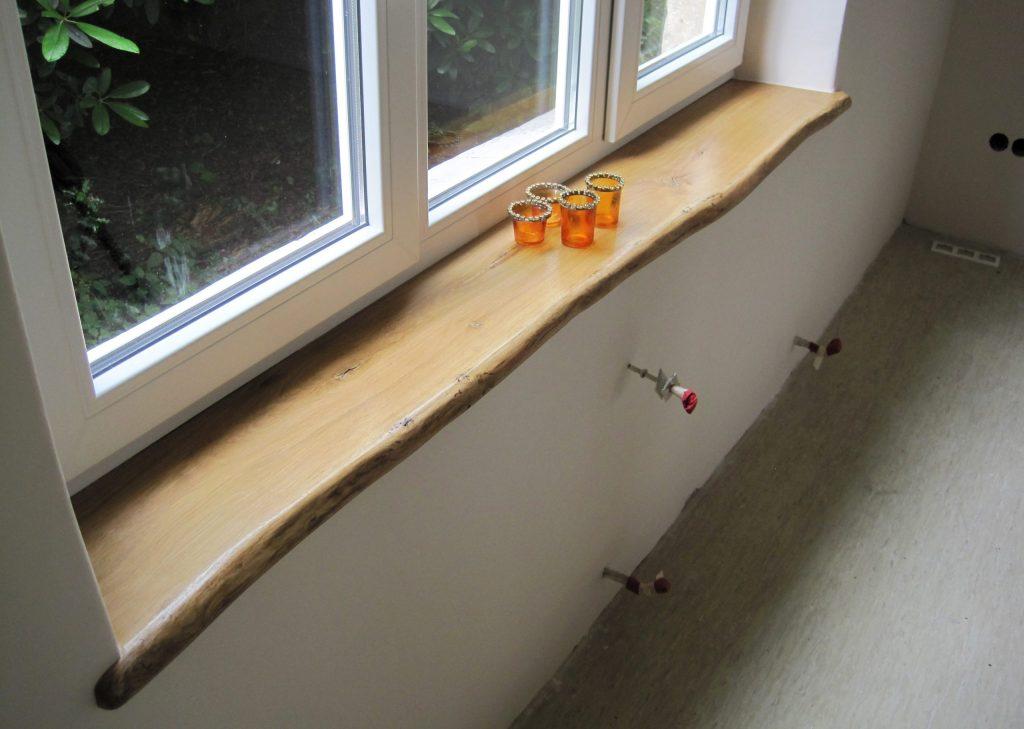 Eiche-Holzfensterbank aus Eiche, Wildeiche mit Naturkante bzw. Baumkante - Einbau