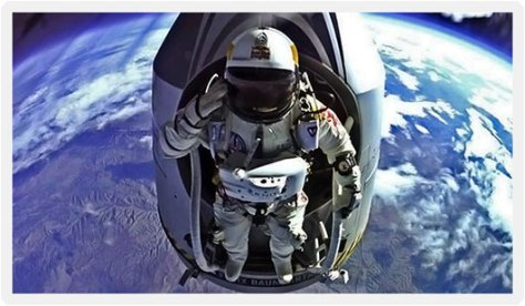 A photograph of Daredevil Felix Baumgartner, as he boldly prepares to jump off his high altitude capsule for the ultimate record-breaking space dive on 14th October 2012.