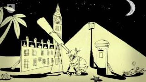 A slide picture from 60 seconds in Astronomy, showing English astronomer on holiday. Image: The Open University